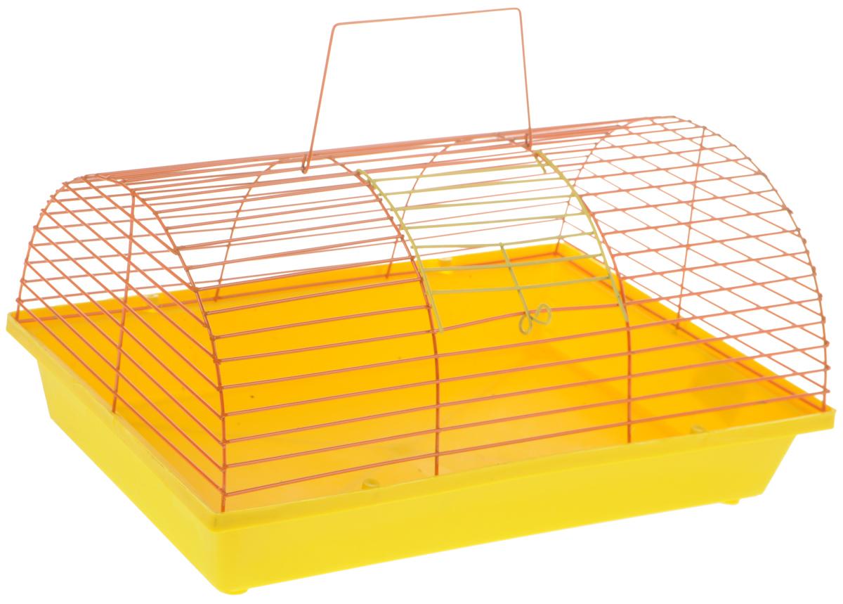 Клетка для грызунов ЗооМарк, цвет: желтый поддон, оранжевая решетка, 36 х 23 х 17,5 см цена
