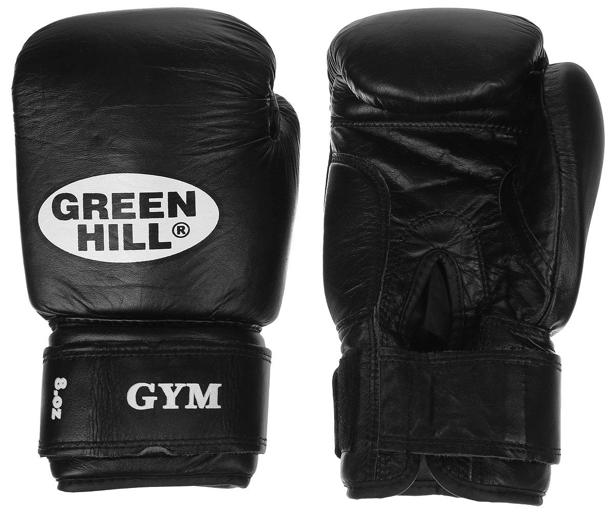 Перчатки боксерские Green Hill Gym, цвет: черный, белый. Вес 8 унций цена
