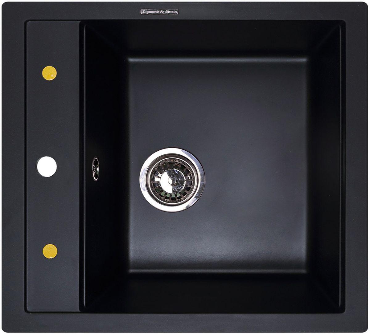 """Мойка кухонная Zigmund & Shtain """"Platz 465"""", врезная, 39,5 x 36 см, цвет: черный базальт"""