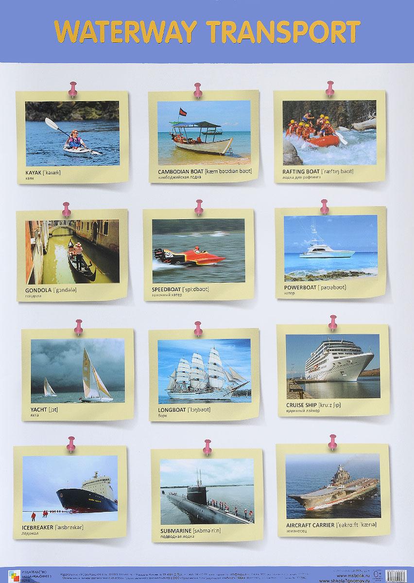 Waterway Transport / Водный транспорт. Плакат цена