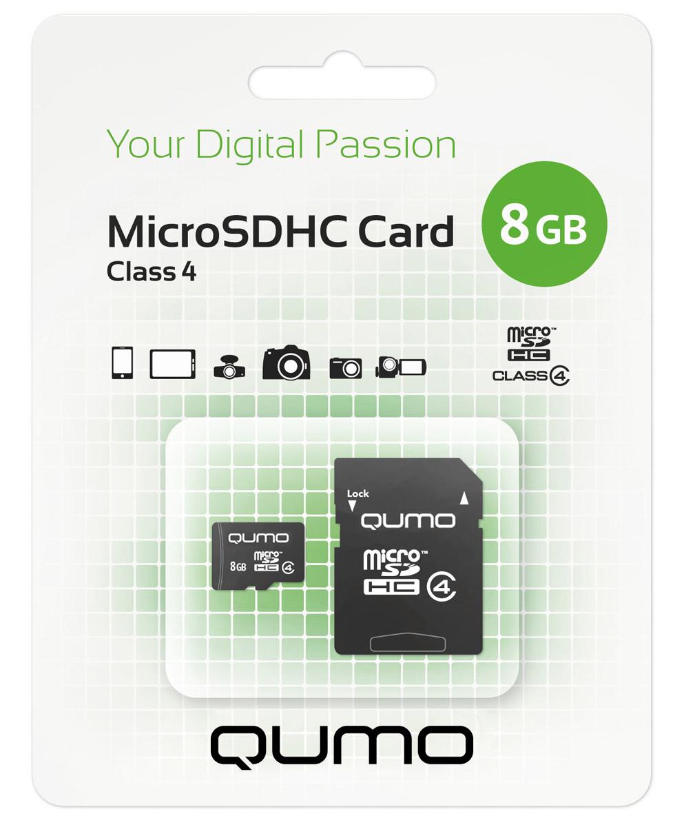 QUMO microSDHC Class 4 8GB карта памяти + адаптер