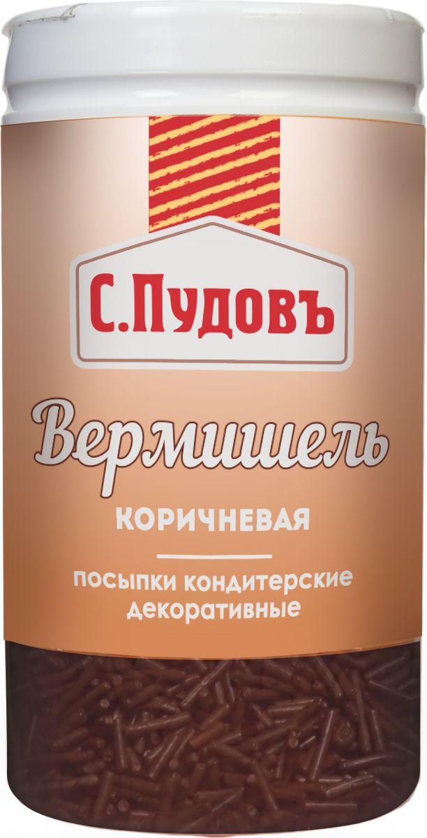 Пудовъ посыпка вермишель коричневая, 40 г вермишель микс 1 яркий с пудовъ