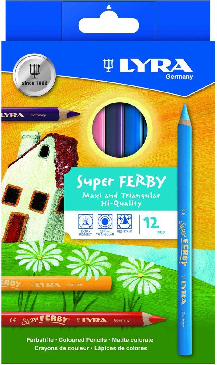 Lyra Набор цветных карандашей Super Ferby 12 шт lyra набор художественных цветных карандашей rembrandt polycolor 72 шт