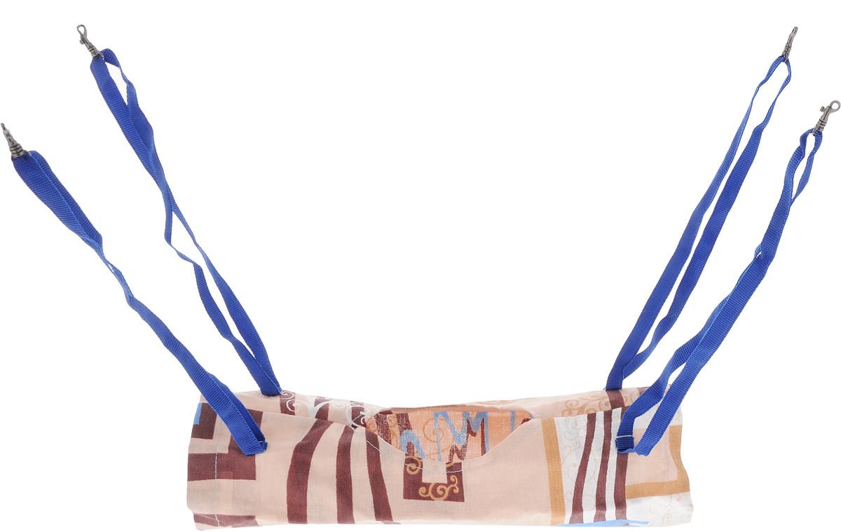 Гамак-тоннель для шиншилл и хорьков ЗооМарк, подвесной, цвет: бежевый, коричневый, синий. Д-09 гамак кроватка для шиншилл и хорьков зоомарк подвесной цвет красный д 12к