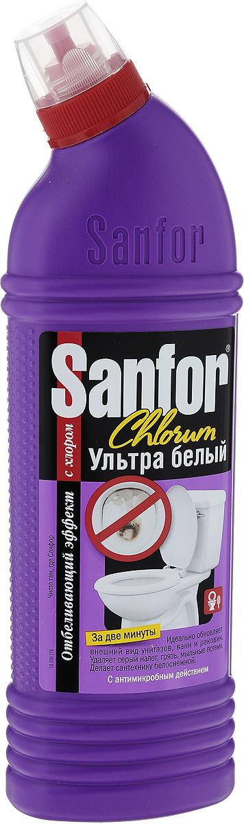 Средство для чистки ванн и унитазов Sanfor Chlorum, с хлором, 750 мл