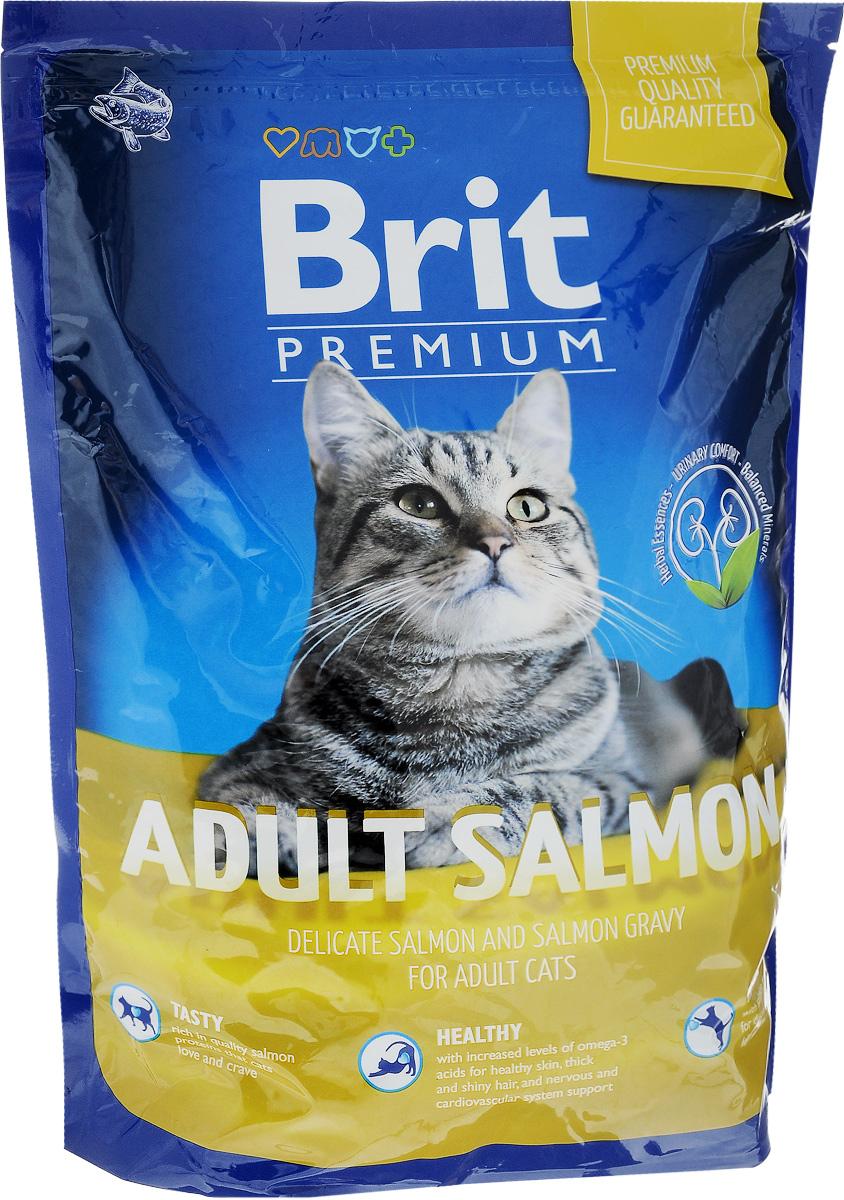 Корм сухой Brit Premium для взрослых кошек, с лососем, 1,5 кг корм для кошек brit carnilove energy