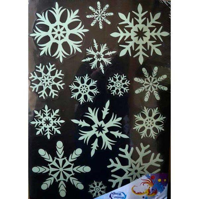 Наклейка-панно декоративная Winter Wings Снежинки, светящаяся, 49 х 69 см. N09230 наклейка winter wings панно дед мороз и дети 29 5х40 см n09277