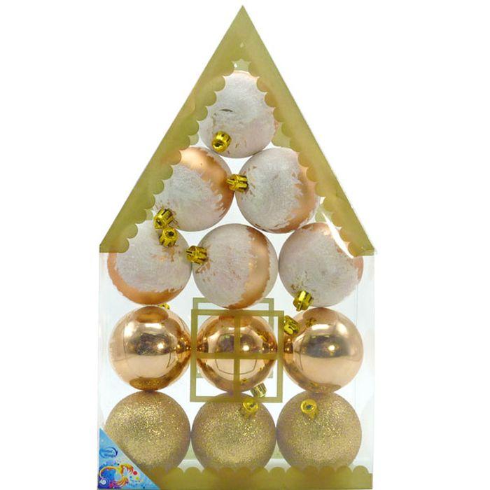 Набор новогодних подвесных украшений Winter Wings Шары, цвет: золотистый, диаметр 6 см, 12 шт набор подвесных новогодних украшений шары цвет золотистый красный 6 шт 26270