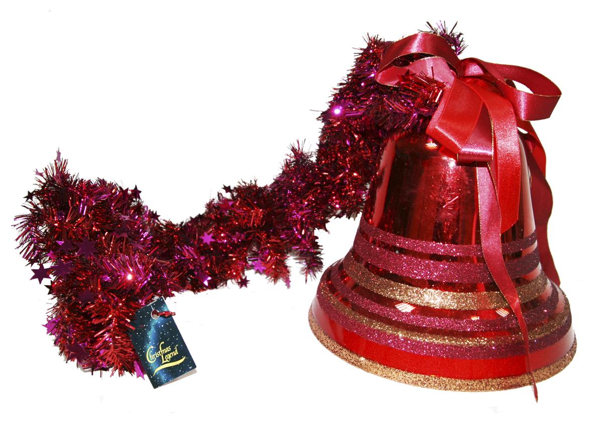 """Украшение новогоднее подвесное Weiste """"Колокол"""", на мишуре, цвет: красный, длина 100 см"""