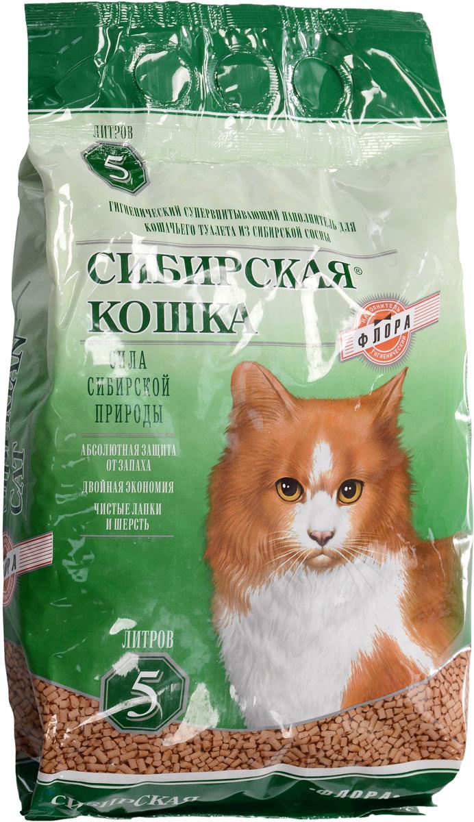 Наполнитель для кошачьих туалетов Сибирская кошка Флора, для кошек, древесный, 5 л древесный наполнитель сибирская кошка лесной для кошек 3л