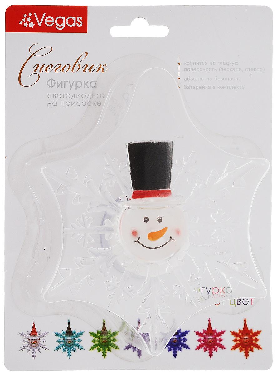 Украшение новогоднее Vegas Снеговик в шляпе, со светодиодной подсветкой, на присоске, 10 х 12 см