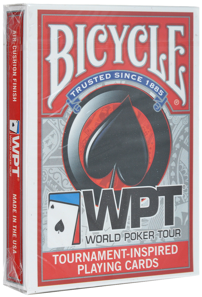 Карты игральные Bicycle WPT, цвет: красный, 54 шт игральные карты bicycle spectrum deck цвет мультиколор 56 шт