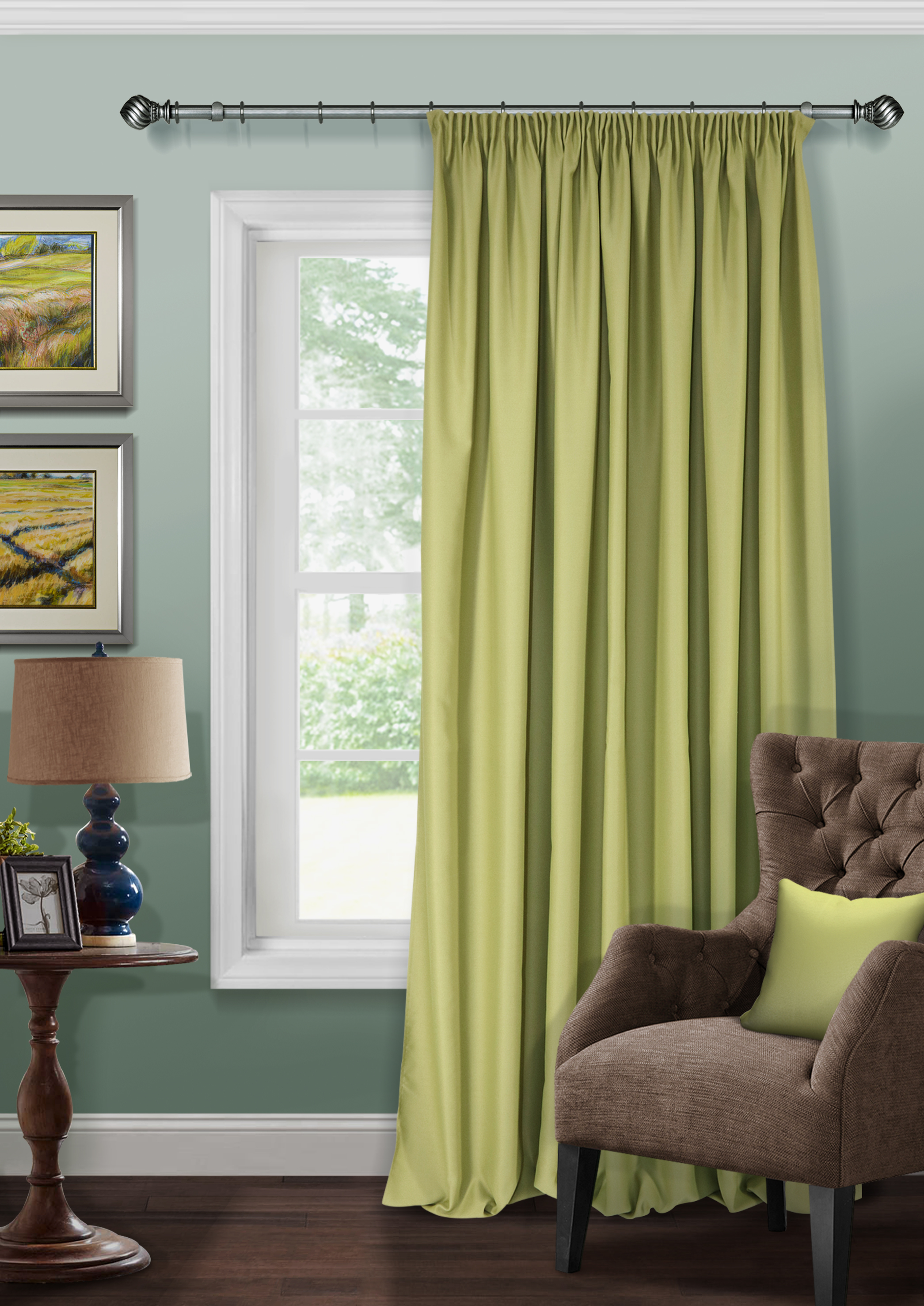Штора Kauffort Ночь, на ленте, с подхватом, цвет: зеленый, ширина 200 см, высота 280 см штора kauffort магия на ленте с подхватом цвет нежно фиолетовый ширина 250 см высота 280 см