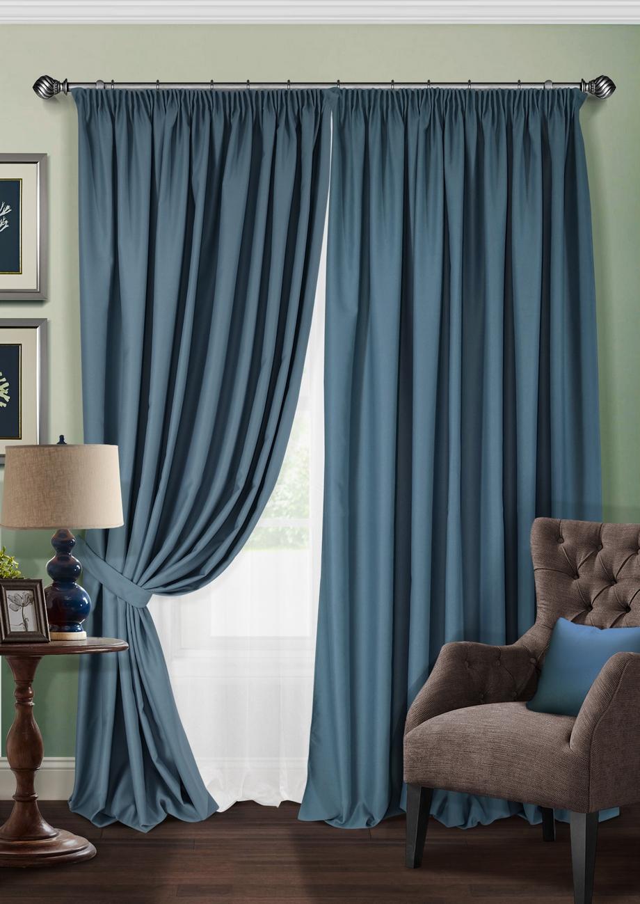 Комплект штор KauffOrt Ночь, на ленте: 2 портьеры 220 х 280 см, тюль 500 х 280 см, 2 подхвата, цвет: синий мур дж стильные шторы 500 идей для занавесок и штор