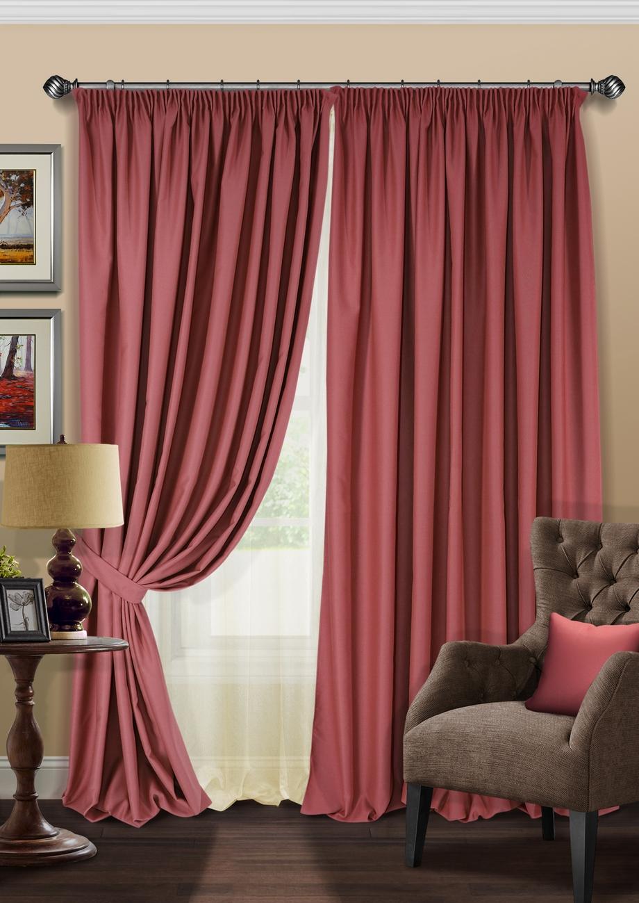Комплект штор KauffOrt Ночь, на ленте: 2 портьеры 220 х 280 см, тюль 500 х 280 см, 2 подхвата, цвет: малиновый мур дж стильные шторы 500 идей для занавесок и штор