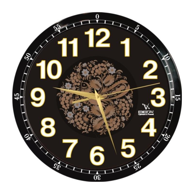 """Часы настенные Вега """"Классика черная с узором"""""""