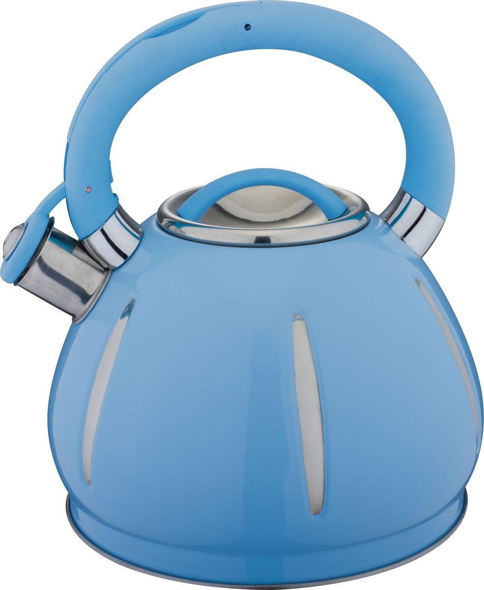 Чайник Bekker, со свистком, цвет: синий, 3 л. BK-S589 чайник металический со свистком 3 л bekker bk s433
