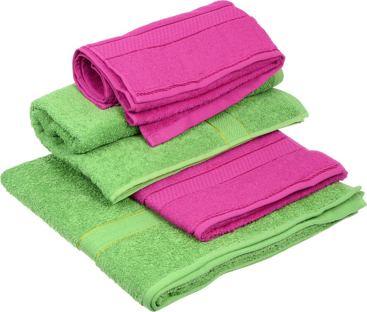 """Набор махровых полотенец """"Aisha Home Textile"""", цвет: зеленый, малиновый, 4 шт"""