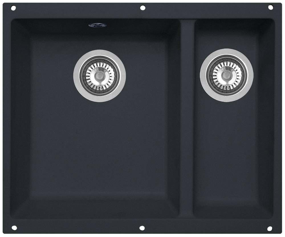 Мойка кухонная Zigmund & Shtain, подстольная, 2 чаши, цвет: черный базальт. integra5002 кухонная мойка zigmund