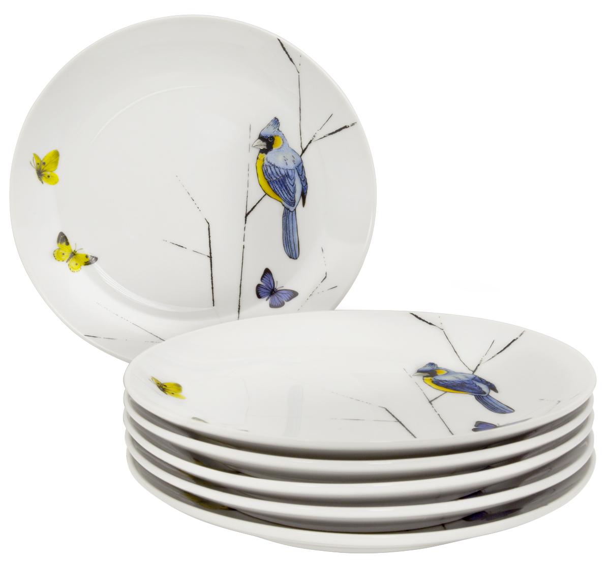 """Набор десертных тарелок Esprado """"Primavera"""", цвет: белый, черный, голубой, 20,5 см, 6 шт. PRM021YE301"""