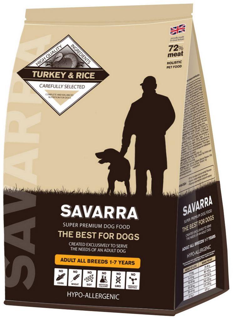 Корм сухой Savarra для взрослых собак, с индейкой и рисом, 3 кг5649041Сухой корм Savarra - это гипоаллергенный полнорационный корм для взрослых собак всех пород. Изготовлен на основе свежего мяса индейки, мяса наиболее диетического и нежного, обладающего прекрасной усвояемостью и содержанием питательных веществ. Совершенно очевидно, что польза индейки в том, что ее мясо содержит в большом количестве такие витамины, как А и Е. По содержанию такого вещества, как натрий индейка существенно опережает даже говядину и телятину. Польза индейки в том, что благодаря натрию с употреблением этого мяса происходит пополнение объемов плазмы в крови и обеспечиваются нормальные обменные процессы. Рацион Savarra содержит все необходимое для удовлетворения потребностей животного в питательных веществах, витаминах и минералах. Состав: свежее мясо индейки, дегидрированное мясо индейки, коричневый рис, ячмень, овес, дегидрированное мясо лосося, жир индейки, семена льна, натуральный ароматизатор, горох, мякоть свеклы, масло лосося, дегидрированное яйцо, витамин А (ретинола ацетат), витамин D3 (холекальциферол), витамин Е (альфа-токоферола ацетат), аминокислотный хелат цинка гидрат, аминокислотный хелат железа гидрат, аминокислотный хелат марганца гидрат, аминокислотный хелат меди гидрат, холина хлорид, зеленые мидии, экстракт цикория, глюкозамин, метилсульфонилметан, хондроитин, морковь, помидоры, ромашка, соль, водоросли, клюква, петрушка, черника, шпинат. Пищевая ценность: белки - 28%, масла и жиры - 17%, клетчатка - 2.5%, зола - 8.5%, влажность - 8%, омега-6 ...