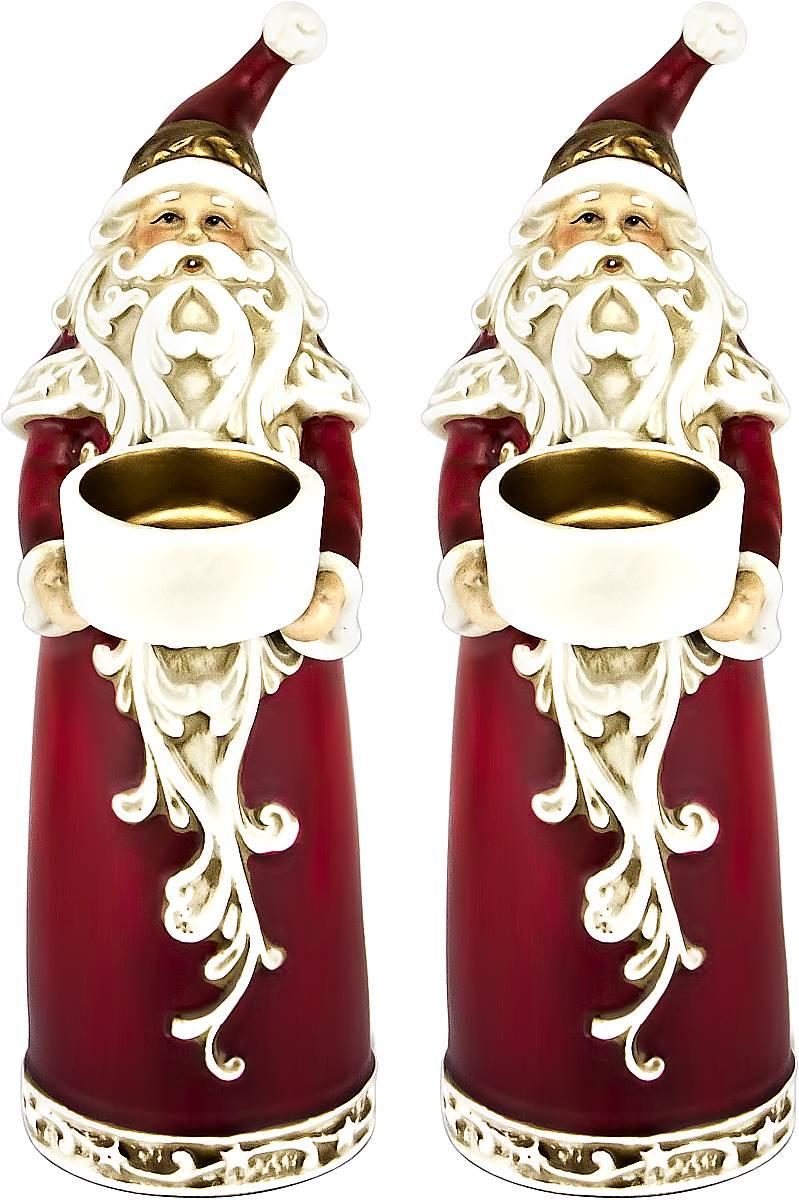 Набор подсвечников Mister Christmas Дед Мороз, высота 22,5 см, 2 шт украшение новогоднее подвесное mister christmas дед мороз коллекционное высота 10 см us 661211