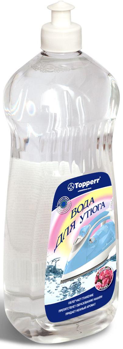 Вода для утюгов Topperr Роза, парфюмированная, с ароматом розы, 1 л rail вода для утюгов с ароматом полевых цветов 950мл 12шт 20033
