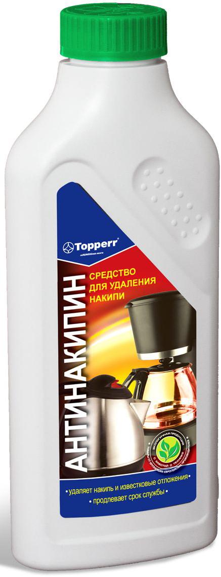 Средство от накипи Topperr для чайников, утюгов и кофеварок, 500 мл3032Универсальное средство от накипи Topperr эффективно удаляет накипь и известковые отложения на стенках чайников, кофеварок, кипятильников и других водонагревательных приборах. Защищает и улучшает их работу. Не токсично. Способ применения: Способ применения для чайников и водонагревательных приборов: налить 1 л воды в чайник (резервуар). В зависимости от загрязнения добавить 100-120 мл средства. Нагреть раствор до 50°С и оставить действовать на 30 мин. Затем вылить раствор, тщательно прополоскать и прокипятить емкость. Способ применения для кофеварок: налить 200 мл воды в резервуар кофеварки и добавить 50 мл средства. Включить кофеварку и прогнать около 100 мл раствора. Выключить кофеварку и дать остаткам раствора подействовать около 15 мин. Затем пропустить остатки раствора и дважды прогнать чистой водой. Товар сертифицирован. Как выбрать качественную бытовую химию, безопасную для природы и людей. Статья OZON Гид