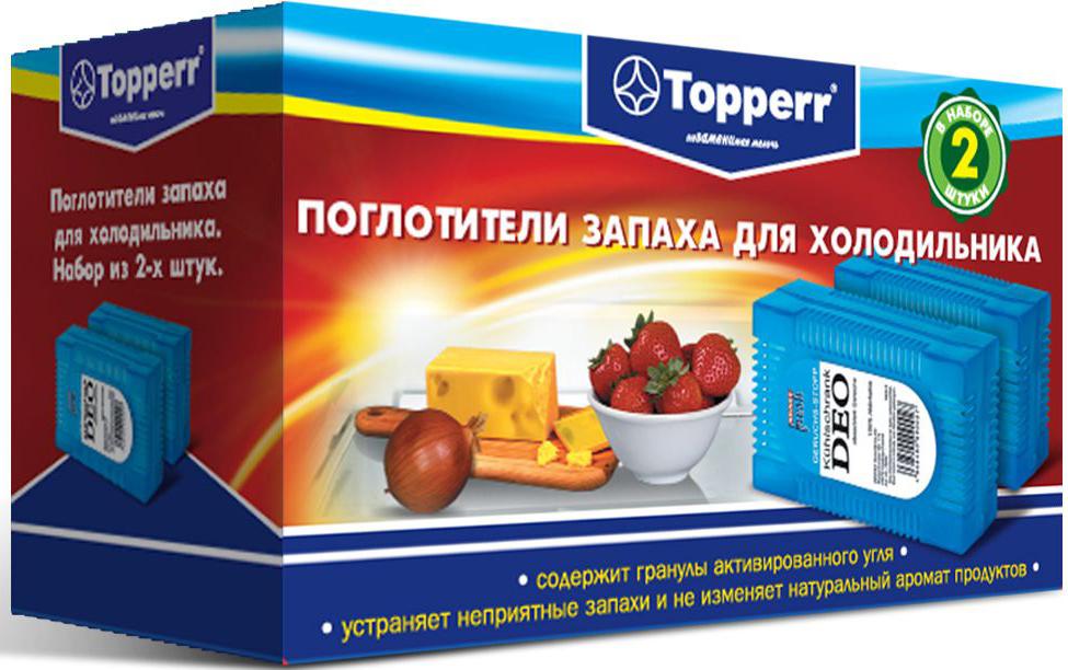 Поглотитель запаха для холодильника Topperr, 2 шт поглотитель запаха для холодильника topperr шар 3 шт