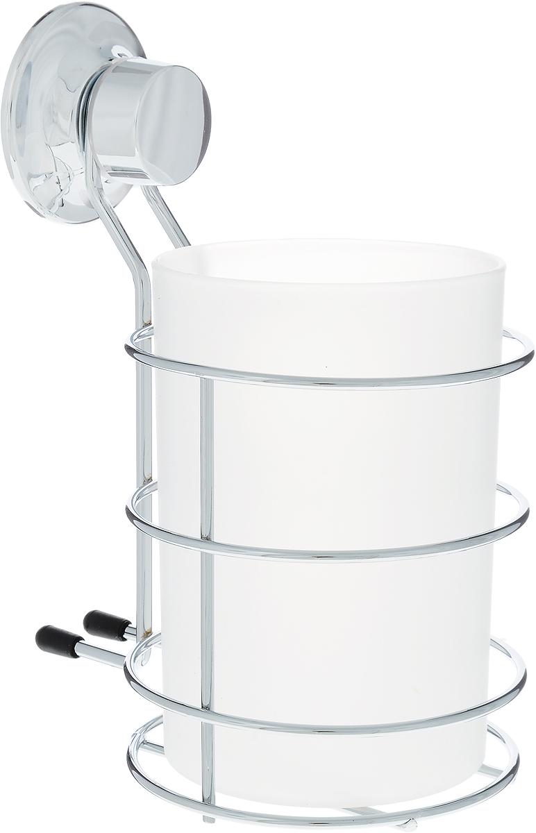 "Стакан для ванной комнаты Tatkraft ""Swiss Line"" на присоске, 10,5 х 12 х 15,5 см"