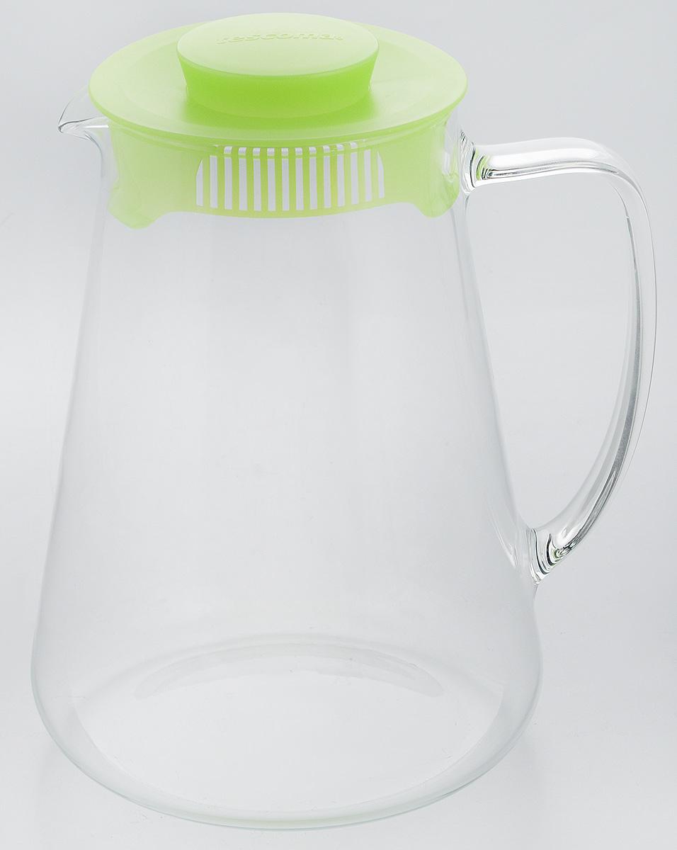 """Кувшин Tescoma """"Teo"""", с крышкой, цвет: прозрачный, зеленый, 2,5 л"""