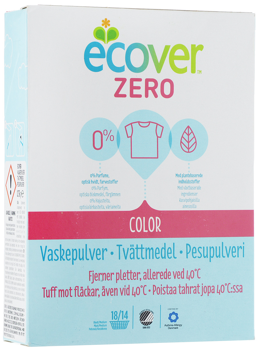 Порошок стиральный Ecover Zero, для цветного белья, 750 г экологический стиральный порошок ecover концентрат универсальный 3 кг