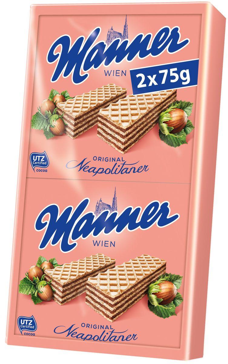 Manner вафли с ореховым кремом неаполитанер, 2 шт по 75 г цена