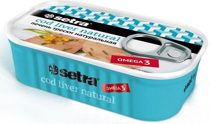 Setra печень трески натуральная, 120 г печень трески по мурмански goldfish 190г