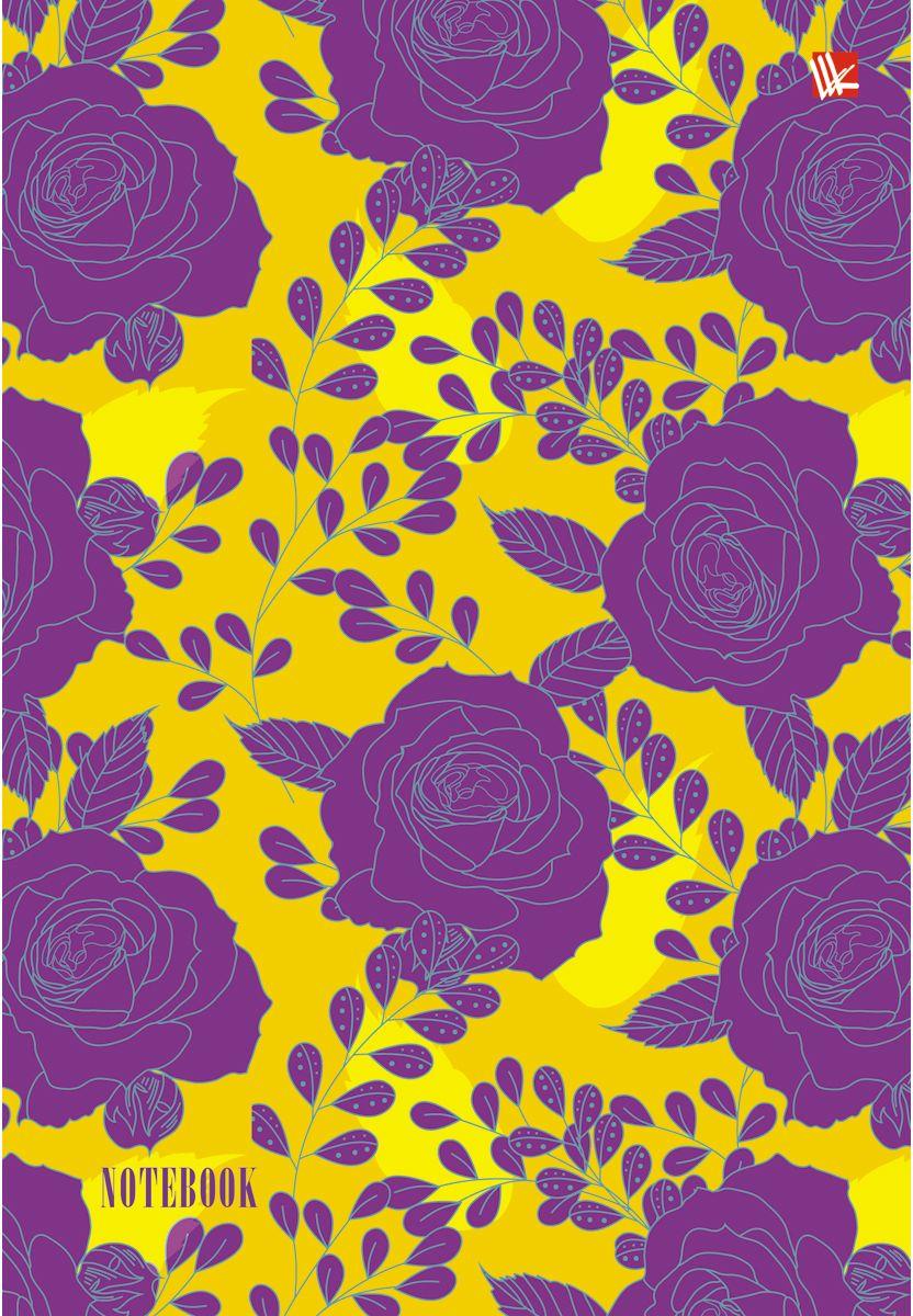 Канц-Эксмо Записная книжка Цветы Сиреневые розы 80 листов в клетку