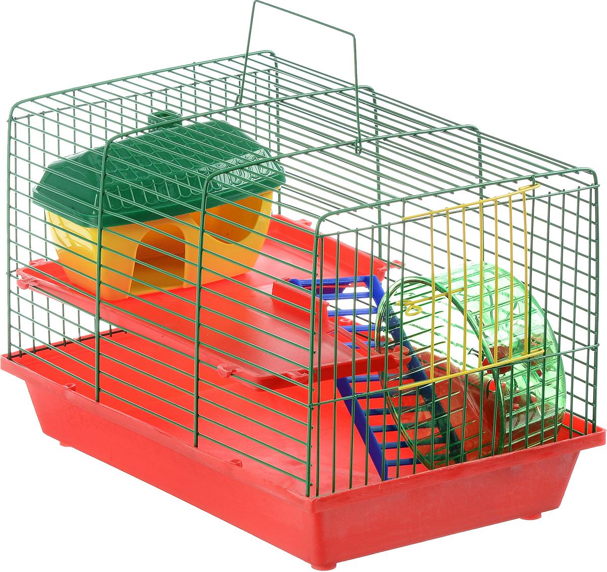 Клетка для грызунов ЗооМарк, 2-этажная, цвет: красный поддон, зеленая решетка, красные этажи, 36 х 23 х 24 см клетка для грызунов зоомарк гризли 4 этажная цвет красный поддон синяя решетка красные этажи 41 х 30 х 50 см