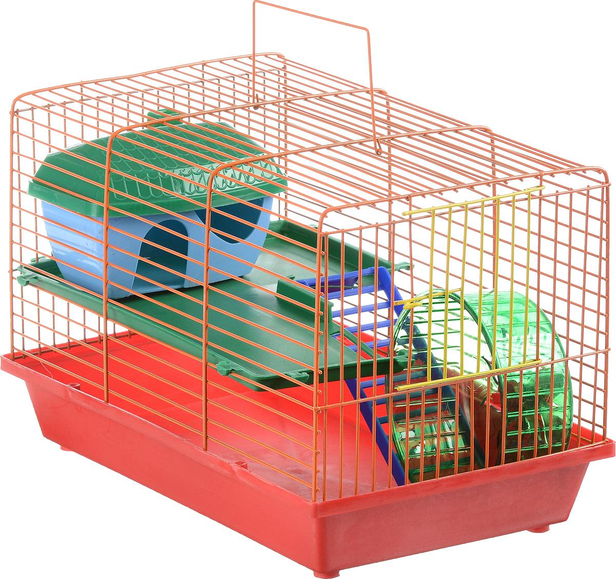 Клетка для грызунов ЗооМарк, 2-этажная, цвет: красный поддон, оранжевая решетка, зеленые этажи, 36 х 22 х 24 см цена