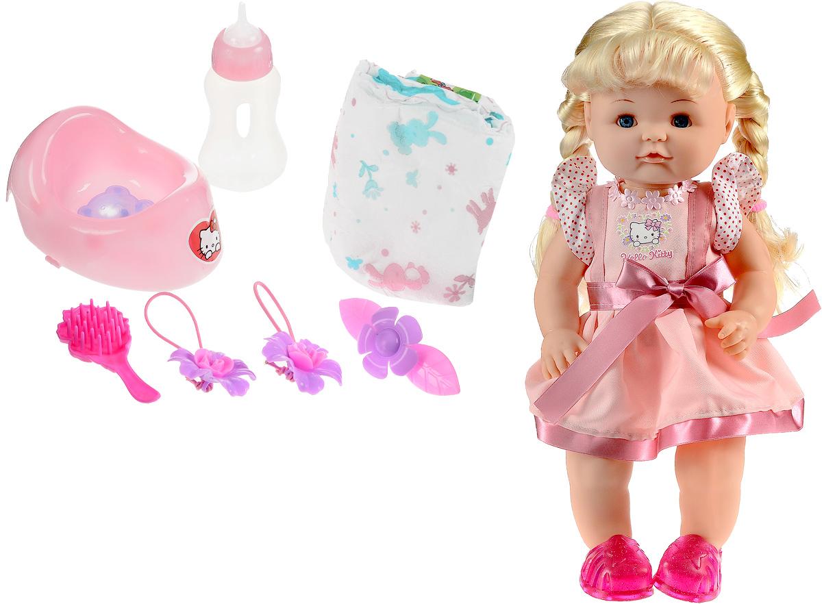 Карапуз Пупс Hello Kitty в розовом платьеY40G-DP-RU-HKПупс Карапуз Hello Kitty представляет собой игрушку в виде маленькой годовалой девочки с косичками, которая очень похожа на настоящего ребенка.В наборе имеются аксессуары по уходу за игрушечной малышкой: горшок, бутылочка и подгузник. Девочке понравится данный набор. Теперь ребенок может воображать себя заботливой мамой и ухаживать за своей дочкой - поить ее из бутылочки, сажать на горшочек, менять подгузник. Куклу также можно купать и расчесывать. В набор входят расческа, две резинки для волос и заколка.
