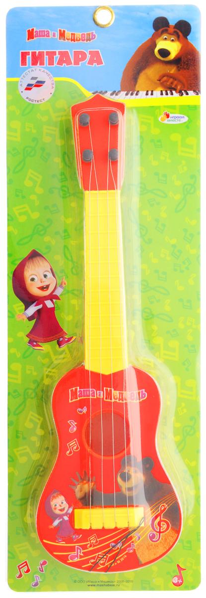 Детский музыкальный инструмент Играем вместе ГИТАРА МАША И МЕДВЕДЬ, С МЕДИАТОРОМ В РУСИФИЦИРОВАННОЙ УПАКОВКЕ. красный гитара игрушечная росмэн с медиатором вспыш