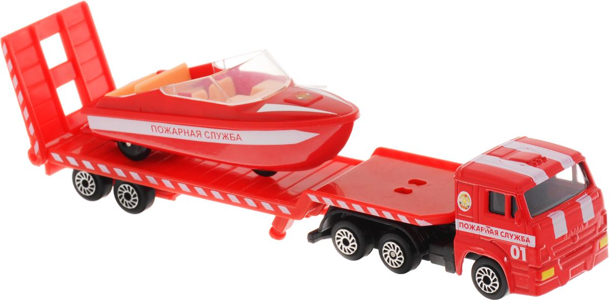 ТехноПарк Набор машинок Транспортер пожарный КамАЗ с лодкой 2 шт цена