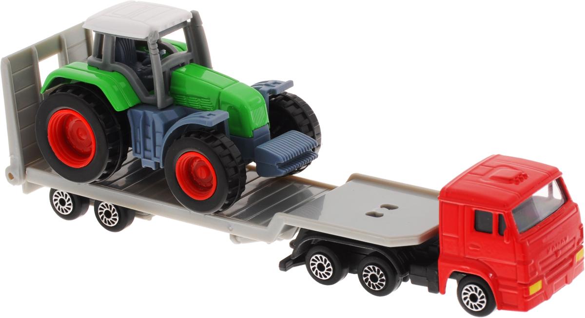 ТехноПарк Набор машинок Транспортер КамАЗ с трактором 2 шт