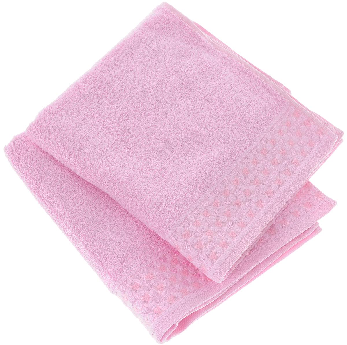 Фото - Набор полотенец Tete-a-Tete Сердечки, цвет: розовый, 2 шт. УНП-104-04к набор полотенец tete a tete лабиринт цвет зеленый 50 х 90 см 2 шт уп 009