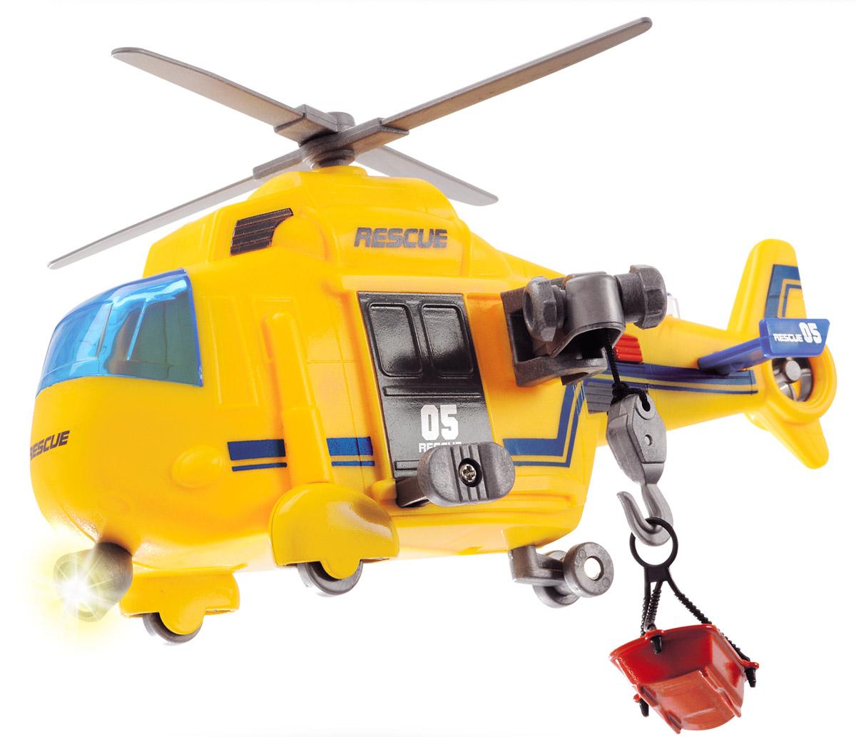 Dickie Toys Спасательный вертолет3302003Спасательный вертолет Dickie Toys даст возможность ребенку почувствовать себя маленьким спасателем, спешащим на помощь людям, попавшим в беду.Вертолет окрашен в яркие цвета. Подвесная люлька отделяется от специального крючка, в нее можно положить небольшую игрушку в виде человечка, животного или необходимого груза. При нажатии на красную кнопку у игрушки начинают крутиться винты, гудит сирена, зажигаются сигнальные огни и фары.Спасательный вертолет отлично развивает фантазию и мышление, расширяет кругозор.Рекомендуется докупить 3 батарейки напряжением 1,5V типа LR41 (товар комплектуется демонстрационными). Рекомендуем!
