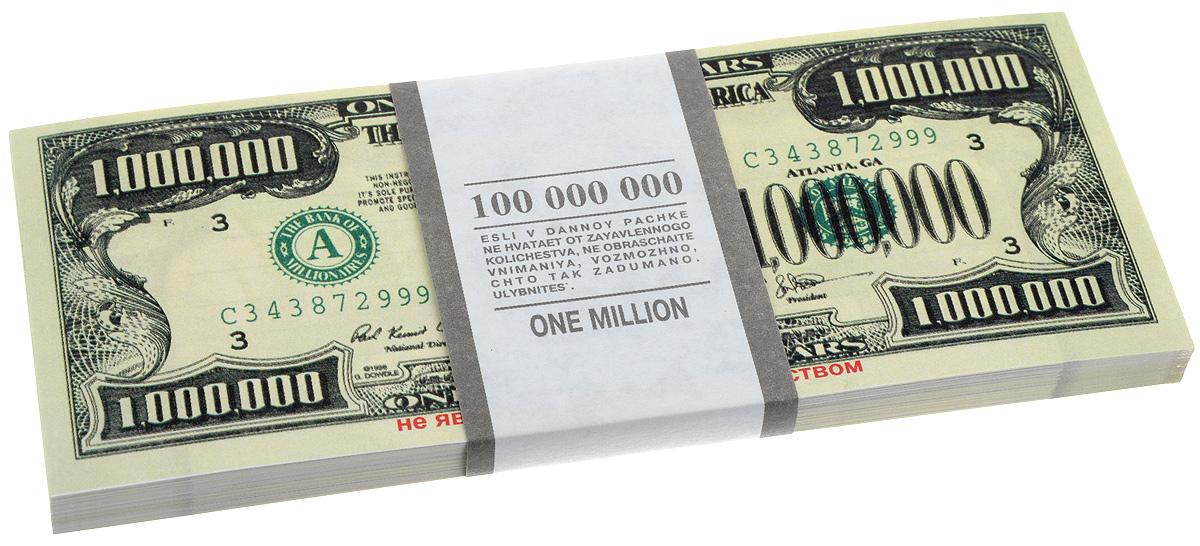 Блокнот Эврика Пачка 1000000 долларов, 90 листов бумага для заметок эврика пачка 1000 рублей 90 листов