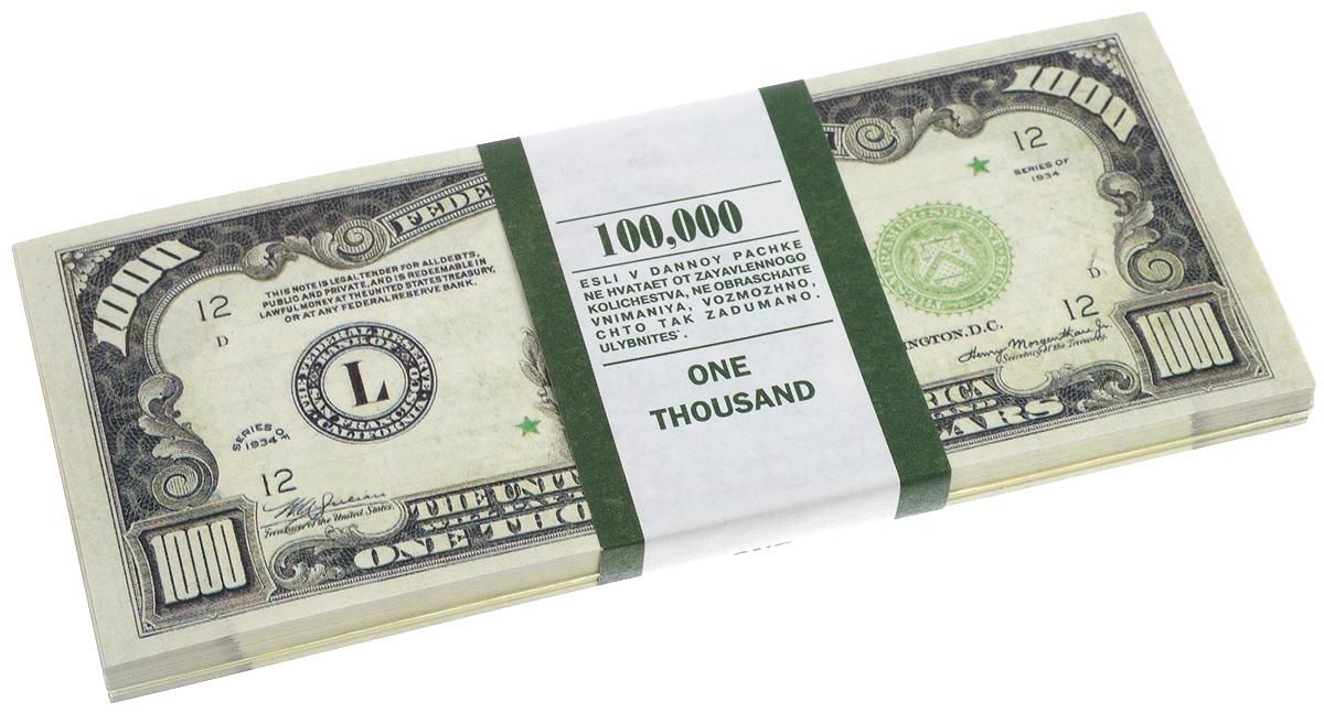 Блокнот Эврика Пачка 1000 долларов, 90 листов бумага для заметок эврика пачка 1000 рублей 90 листов