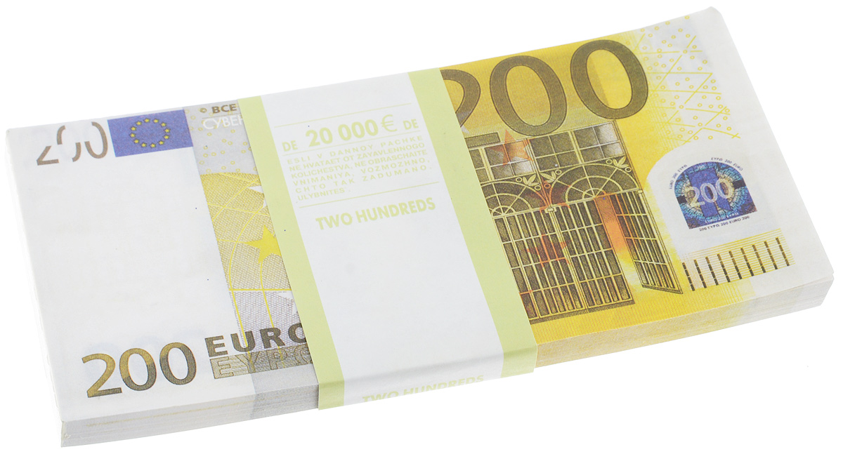 Блокнот Эврика Пачка 200 евро, 90 листов бумага для заметок эврика пачка 1000 рублей 90 листов