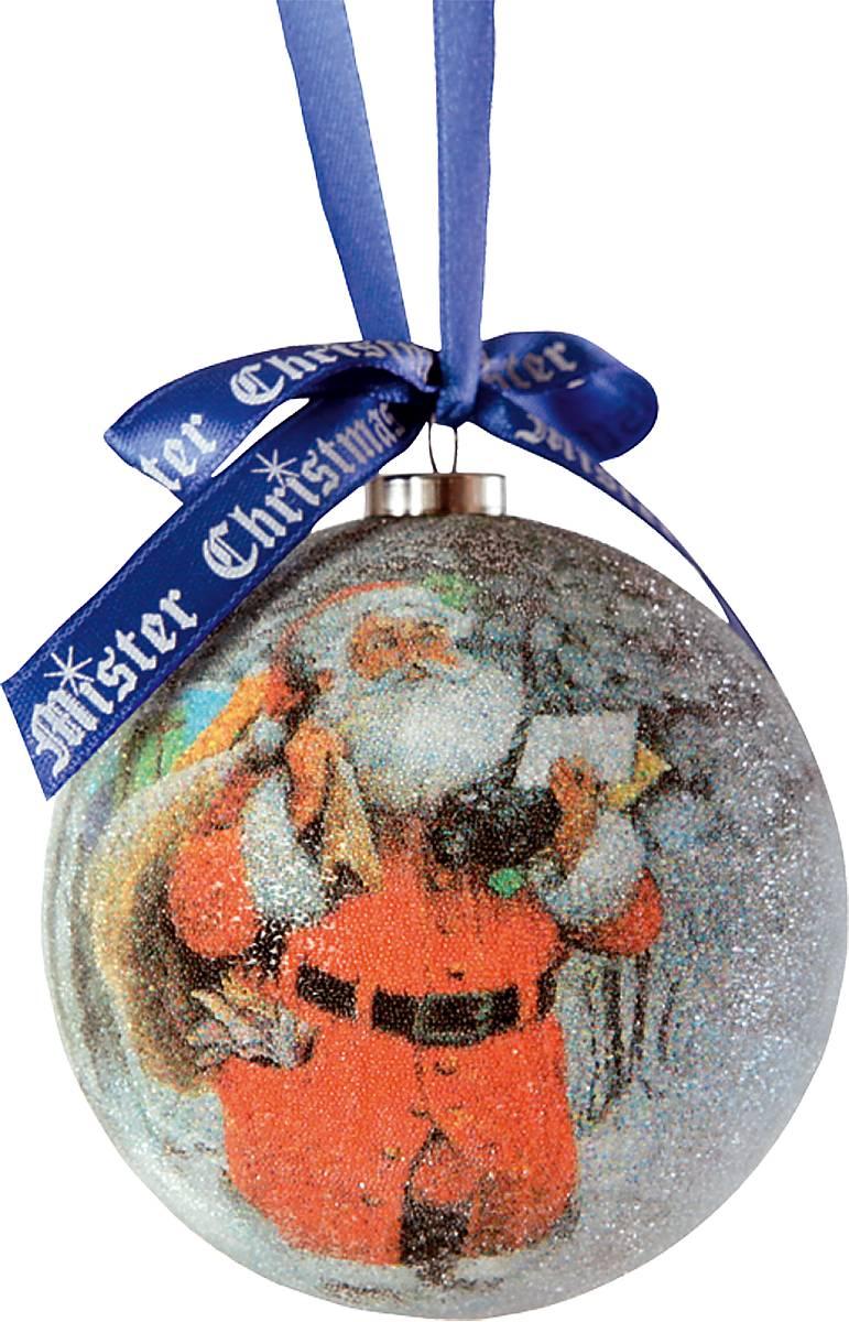Украшение новогоднее подвесное Mister Christmas Папье-маше, диаметр 7,5 см. PM-15-1T украшение новогоднее подвесное mister christmas дед мороз коллекционное высота 10 см us 661211