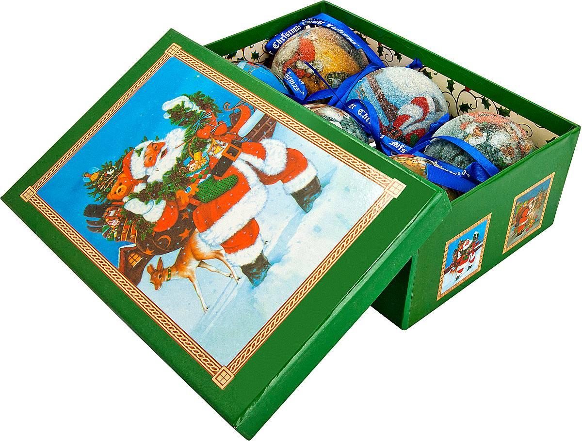 Набор новогодних подвесных украшений Mister Christmas Папье-маше, диаметр 7,5 см, 6 шт. PM-15-6 украшение новогоднее подвесное mister christmas папье маше диаметр 7 5 см pm 15 1t