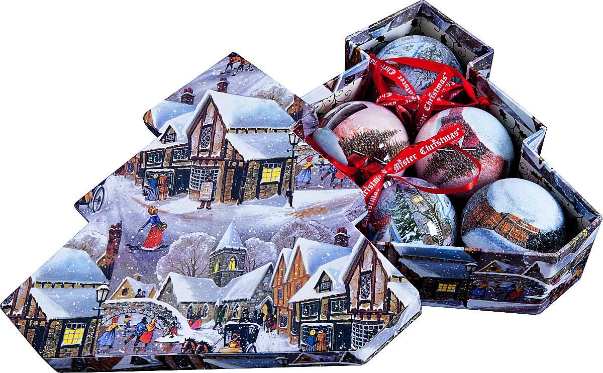 Набор новогодних подвесных украшений Mister Christmas Папье-маше, диаметр 7,5 см, 6 шт. PM-24-6T цена