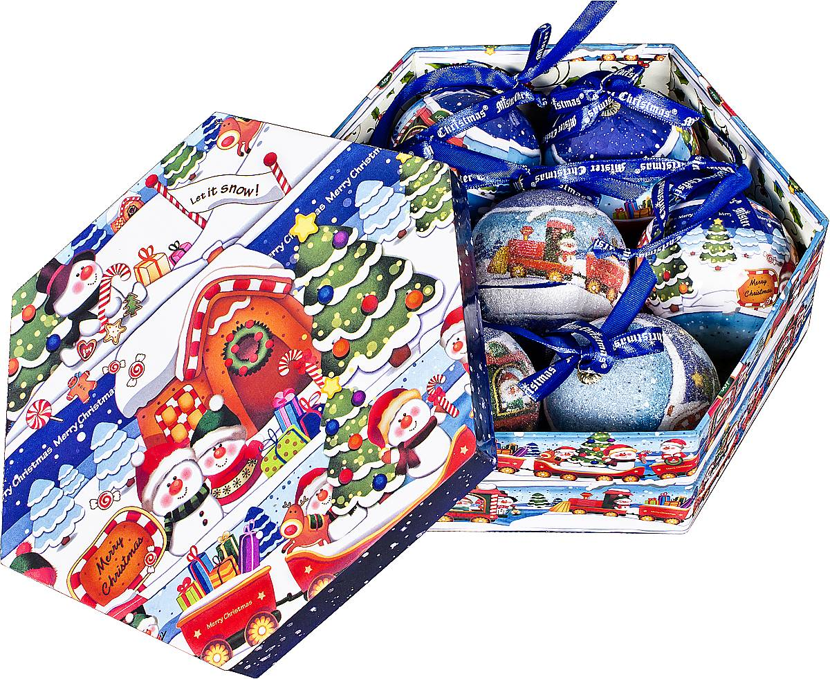 Набор новогодних подвесных украшений Mister Christmas Папье-маше, диаметр 7,5 см, 7 шт. PM-48-7 украшение новогоднее подвесное mister christmas папье маше диаметр 7 5 см pm 15 1t
